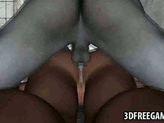 Busty 3D cartoon blonde babe gets fucked by a zombie