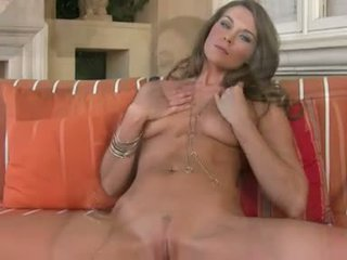 Sexy hot Adrienne Manning loves the pleasure of toying her twat with her fingers