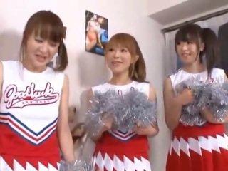 3 Giant Tits Nipponese Cheerleaders Sharing Cucumber