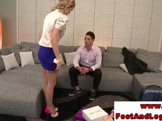 Curly blondinka kathia nobili giving foot job