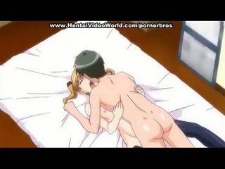 Anime ado fille marques amusement baise en lit