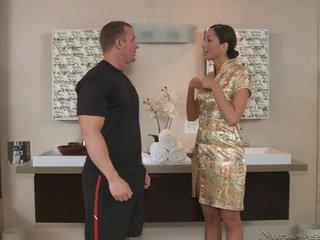 A tall massagist with amazing body
