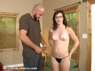 Adorable brunette Sucks shaft For New Job