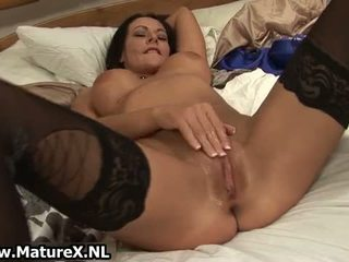 Horny Mature Wife In Black Stockings