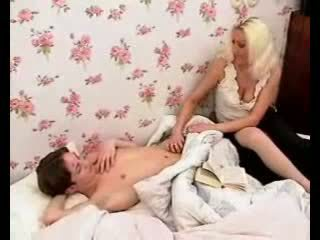 Passionate mom makes boy dick hard wit...